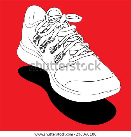 Individual Sneaker - hand drawn. Vector Illustration. - stock vector