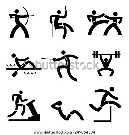 Individual Sport icons. Black icons  with sport and fitness  activities. Vector illustration.