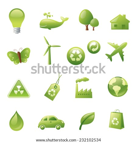 Individually grouped green environmental icons. - stock vector
