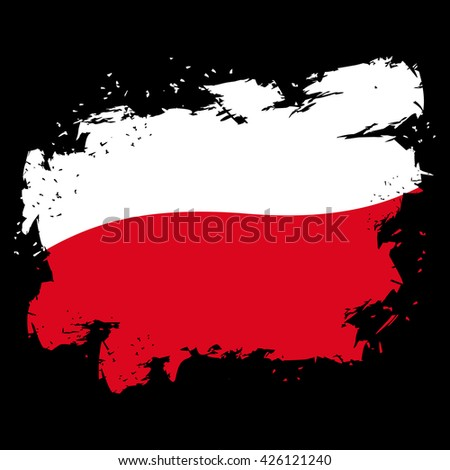 Indonesia flag grunge style on gray background. Brush strokes and ink splatter. National symbol of Indonesian government - stock vector
