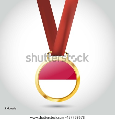 Indonesia  Flag in Silver Medal. Vector Illustration. RIO Olympic Game gold Medal. Vector Illustration