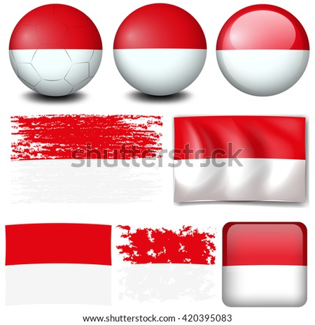 Indonesia flag on different items illustration