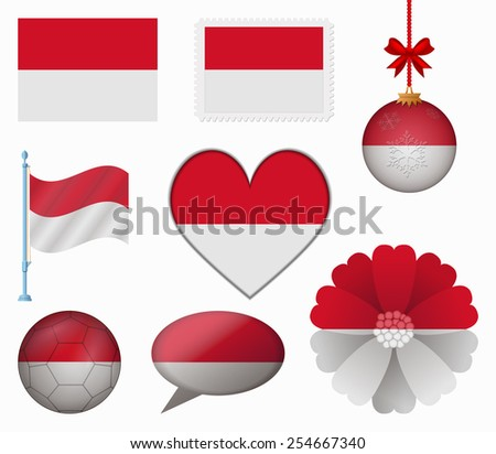 Indonesia flag set of 8 items vector
