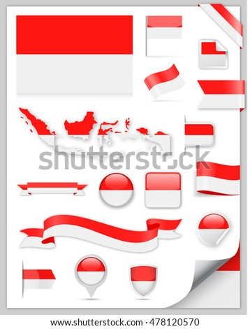 Indonesia Flag Set - Vector Collection