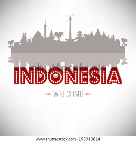 Indonesia Greeting Card vector design. - stock vector