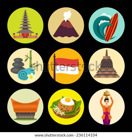 Indonesia icons - stock vector