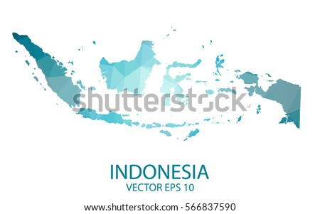 Indonesia Map Blue Geometric Rumpled Triangular Stock Vector