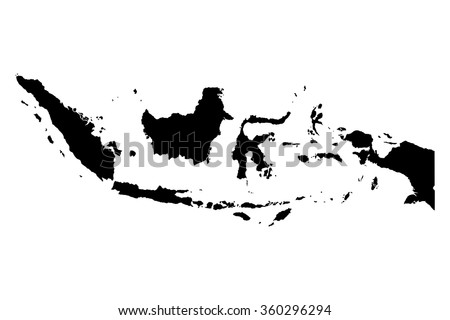 Indonesia map on white background vector - stock vector