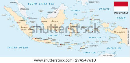 Indonesia map with flag - stock vector