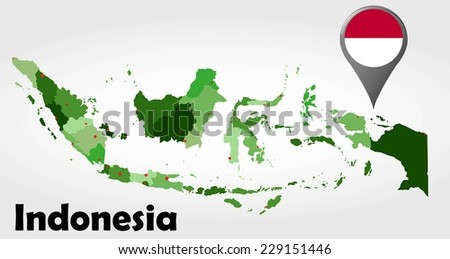 Indonesia Political Map Green Shades Map Stock Vector - Indonesia political map