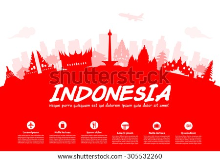 Indonesia Travel Landmarks. Vector and Illustration - stock vector