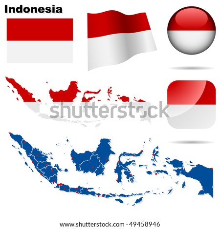 Indonesia vector set. Detailed country shape with region borders, flags and icons isolated on white background. - stock vector