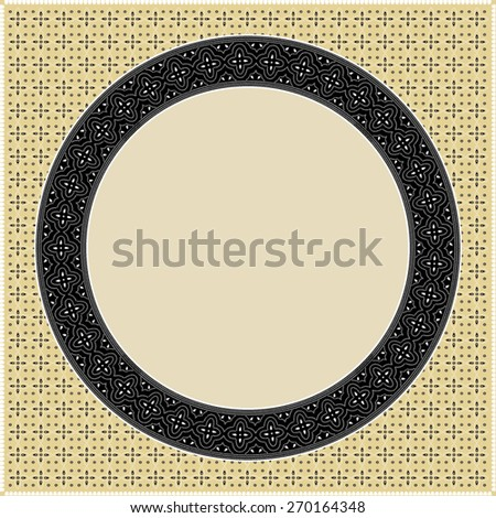 Indonesian batik style inspired, square frame, with inner circle frame pattern - stock vector