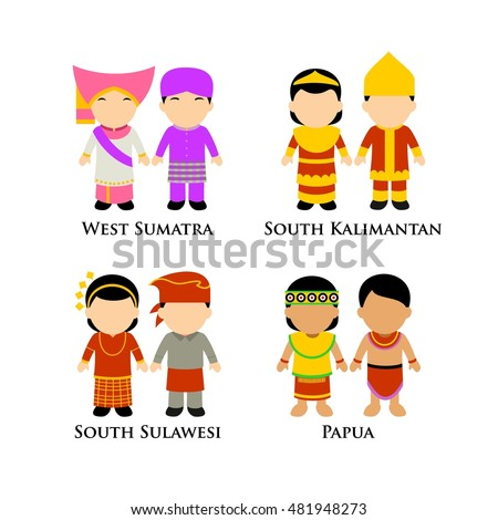 Indonesian Boys Girls Traditional Costume Learning Stock Vector 481948273  Shutterstock