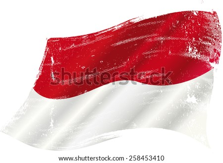 Indonesian grunge waving flag. A grunge flag of Indonesia in the wind for you - stock vector