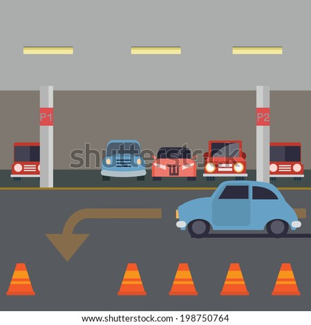 Indoor Parking with car - vector illustration - stock vector