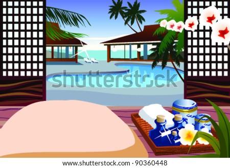 Indoor swimming pool of resort hotel - stock vector