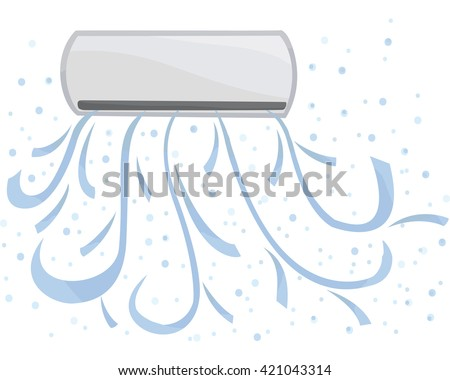 Indoor unit vector. Air conditioning is available, cold in the room - stock vector