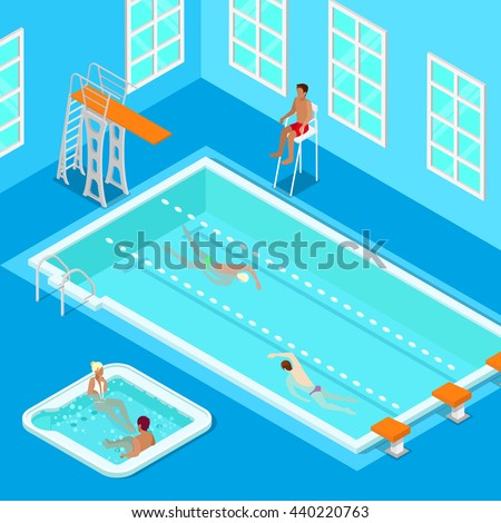Indoors Swimming Pool Swimmers Lifesaver Jacuzzi Stock Vector