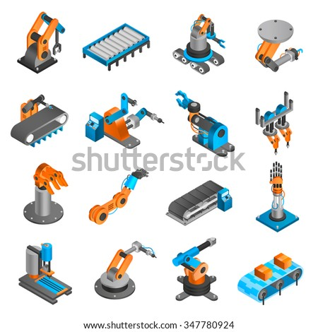 Industial robot and factory machinery 3d isometric icons set isolated vector illustration - stock vector