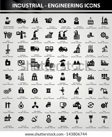 Industrial and Building icons, Black version,vector - stock vector