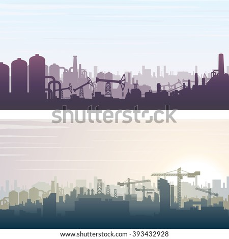 Industrial and Construction Cityscape. Banner or Poster Backgrounds. Vector Illustration - stock vector