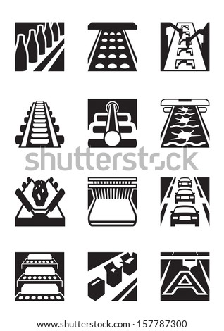 Industrial assembly lines - vector illustration - stock vector