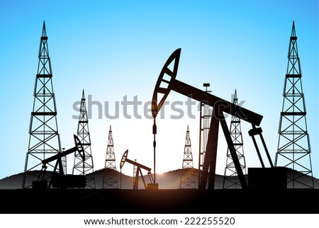 industrial background oil production vector - stock vector