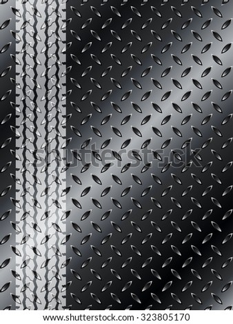 Industrial background template with truck tyre silhouette on black metallic mesh - stock vector