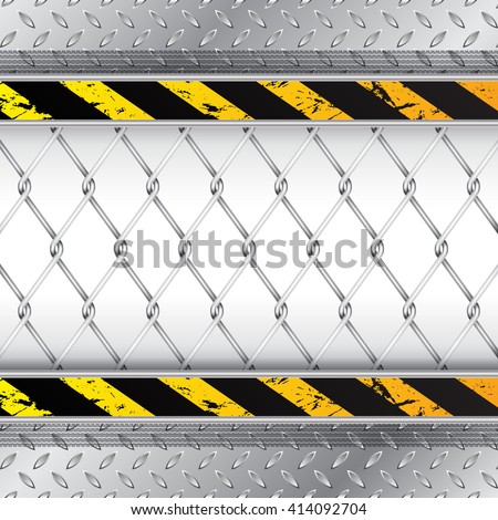 Industrial background with wired fence and tire treads - stock vector