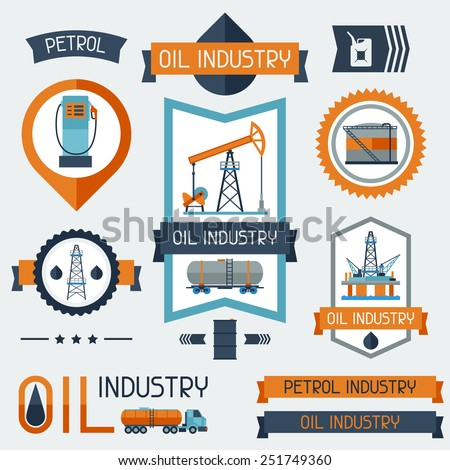 Industrial badges labels with oil and petrol icons. Extraction and refinery facilities. - stock vector
