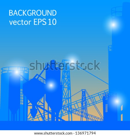 industrial blue background plant mixing vector - stock vector