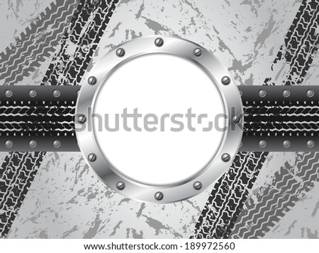 Industrial brochure design with grunge tire track and metallic ring - stock vector