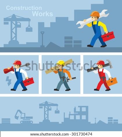 Industrial Builder Worker  - stock vector