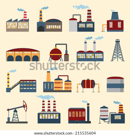 Industrial building factories and plants icons set isolated vector illustration. - stock vector