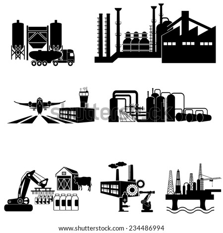 Industrial building factory and  plants icon set - stock vector