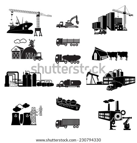 Industrial building factory and power plants icon set. Transport - stock vector