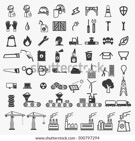 Industrial building factory and power plants icons set. illustration eps10 - stock vector
