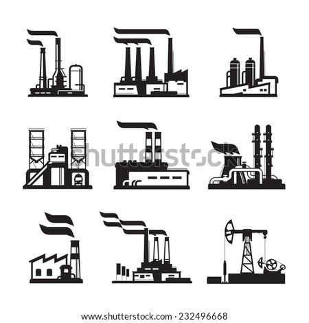 Industrial building factory and power plants  vector icons set  - stock vector