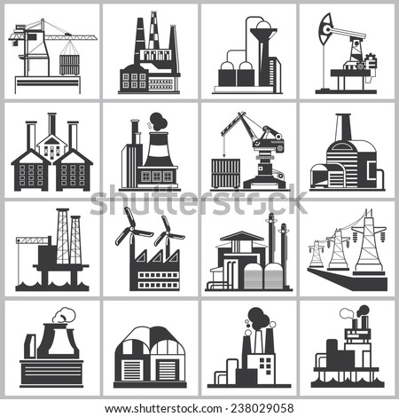 industrial building icons, factory icons set - stock vector