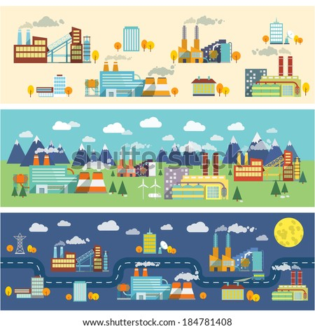 Industrial buildings factories facilities public offices and power plants horizontal banners set vector illustration - stock vector