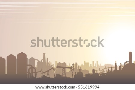 Industrial Buildings Skyline. Modern City Landscape. Vector Image