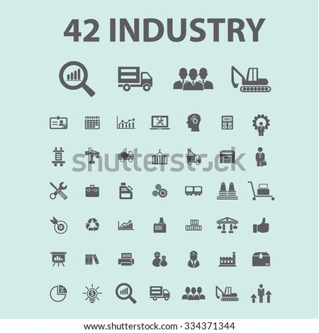 Industrial business. Factory, industry, business meeting, logistics, industrial building, manufacturing, manufacturing plant, engineering, business concept  icons, - stock vector