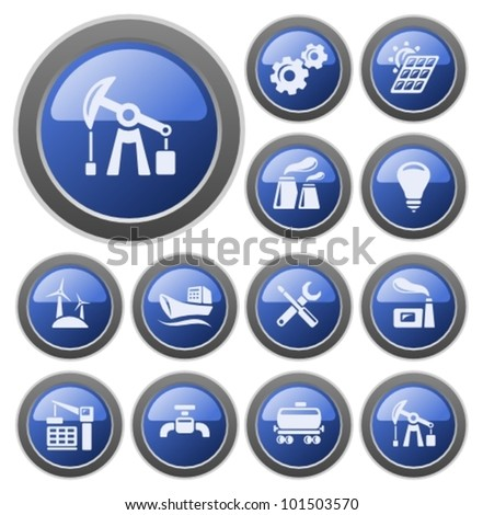Industrial button set - stock vector
