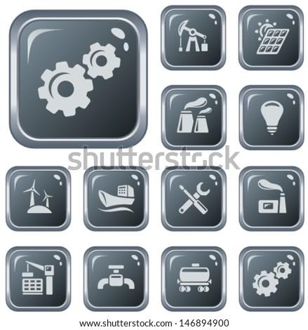 Industrial button set - stock vector