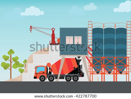 Industrial Cement Processing Plant factory with work machines and a truck mixer, vector illustration. - stock vector