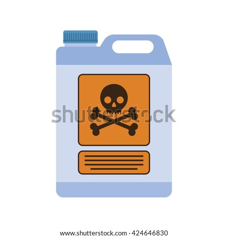 Industrial chemical container with the sign of life threatening. flat design, illustration, vector. - stock vector