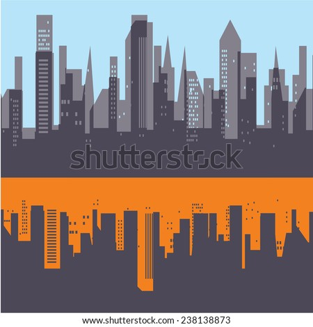 Industrial city and reflection. Made in gray, blue and orange colors. Planar view. Can be used as the cover of the booklet.