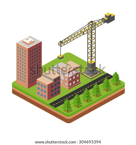 Industrial city building with construction cranes and building houses - stock vector