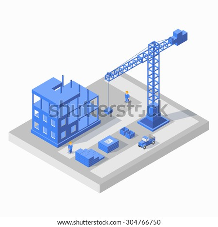 Industrial city building with construction cranes and building houses, a car, civil engineer in blue tones - stock vector